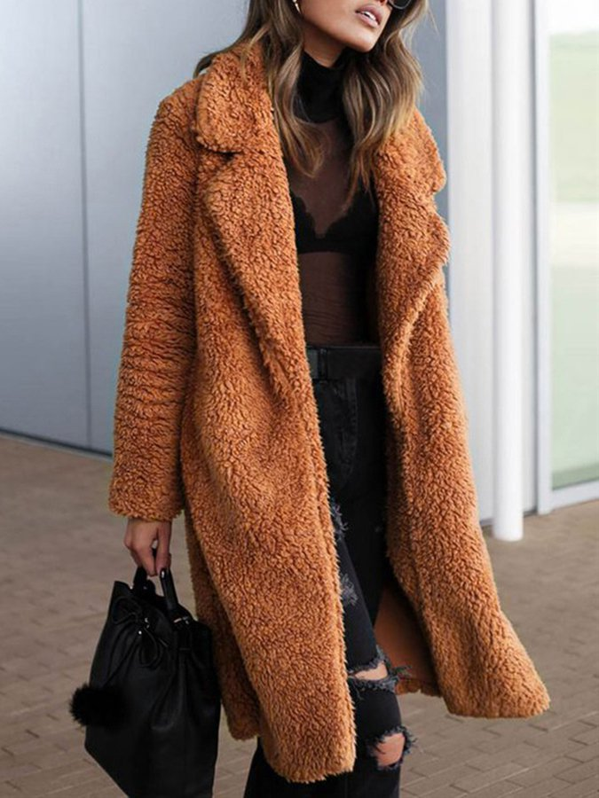 Casual Long Sleeve Faux Fur Outerwear