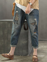 Blue Denim Geometric Vintage Shift Pants