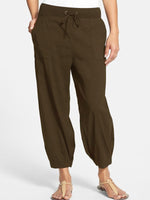 Pockets Plain Casual Pants