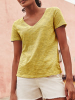 V Neck Short Sleeve Plain Cotton-Blend Shirts & Tops