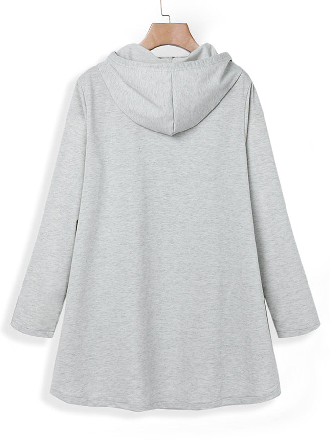Cotton Casual Shift Hoodie Shirts & Tops