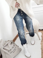Blue Casual Buttoned Patchwork Denim Pants