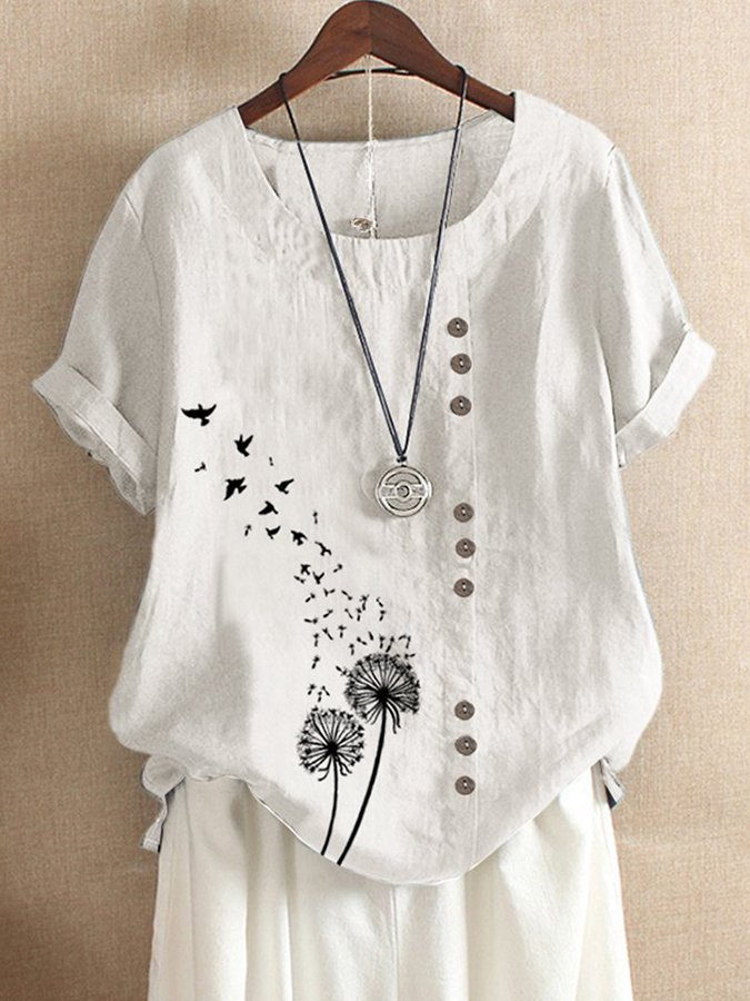 Casual Short Sleeve Cotton Animal Shirts & Tops