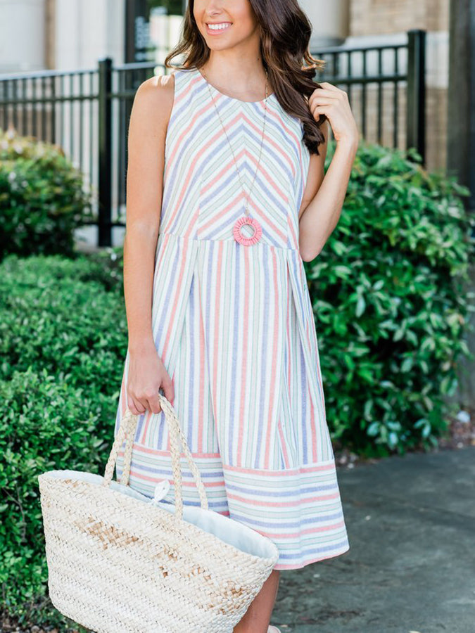 Pink-White Cotton Casual Round Neck Dresses