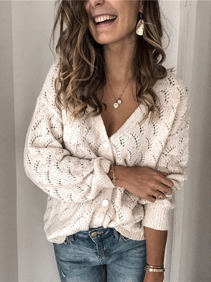 White V Neck Long Sleeve Casual Sweater