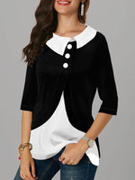 Shirt Collar Shift Long Sleeve Patchwork Shirts & Tops