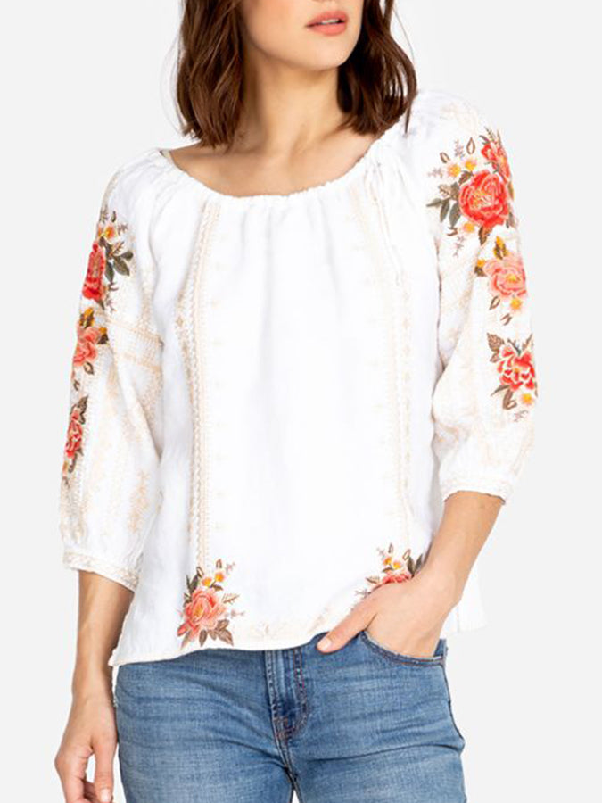 White Floral Long Sleeve Shirts & Tops