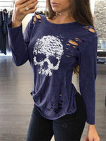Cotton-Blend Long Sleeve Cutout Shirts & Tops