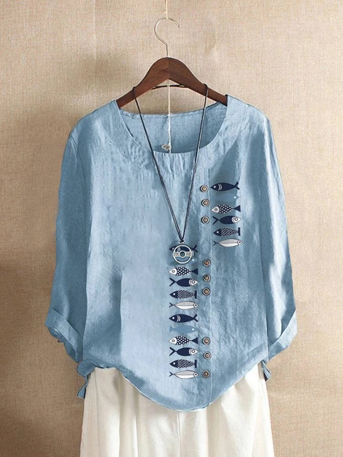 Cotton Long Sleeve Printed Round Neck Shirts & Tops