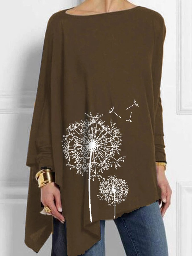Plant Crew Neck Long Sleeve Shirts & Tops