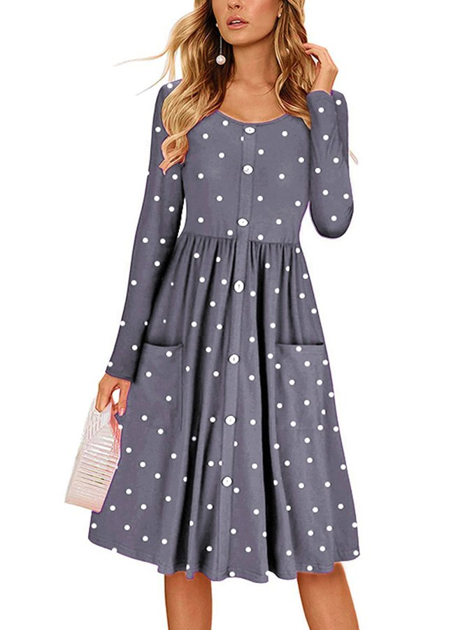 Polka Dots Long Sleeve Casual Crew Neck Dresses