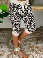 Beige Holiday Shift Leopard Print Pants