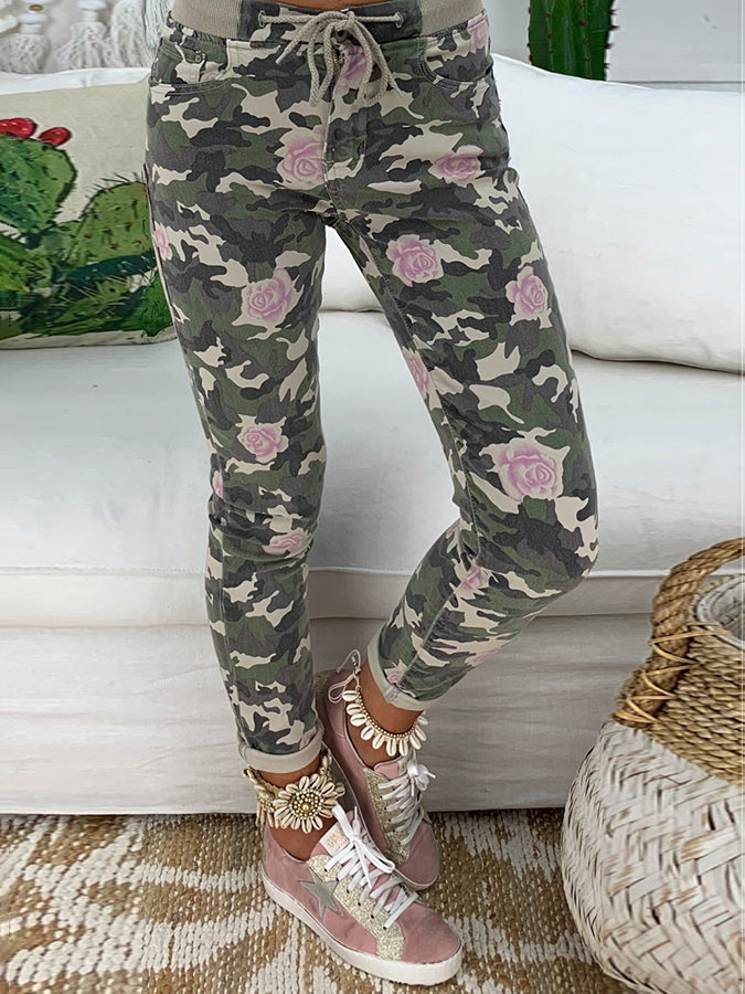Army Green Holiday Sheath Cotton Pants