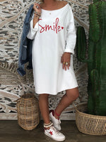 Holiday Letter Round Neck Dresses