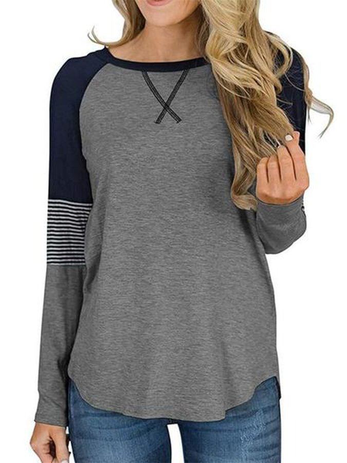 Casual Color-Block Striped Shirts & Tops