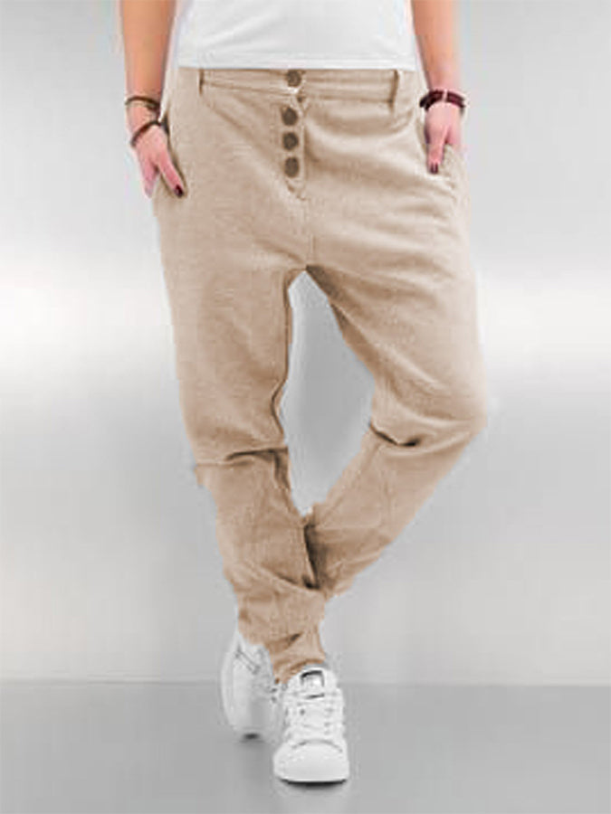 Cotton Buttoned Basic Pants