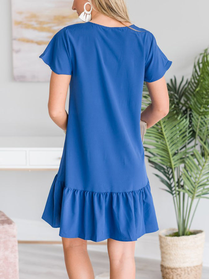 Deep Blue Cotton Casual Dresses
