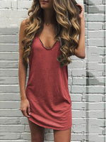 Cotton Solid Holiday V Neck Dresses