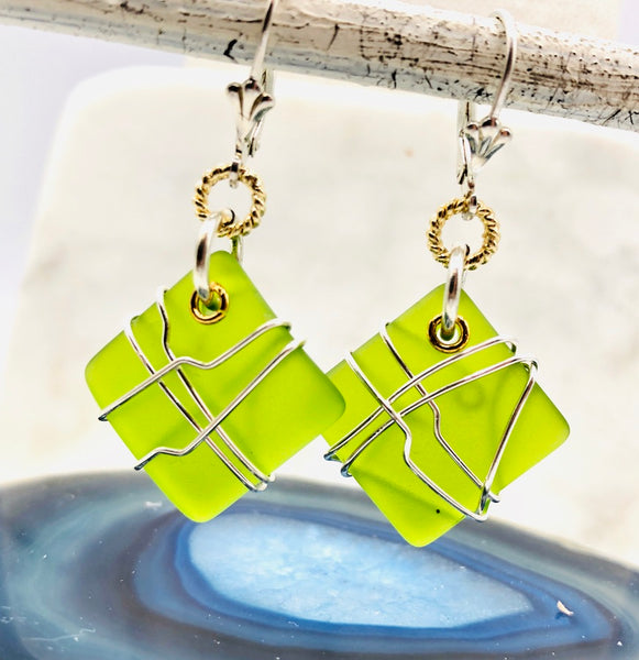 Diamond Seaglass Earrings