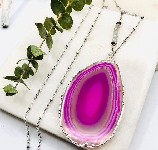 Gemstone Agate Slice Pendant - One of a Kind