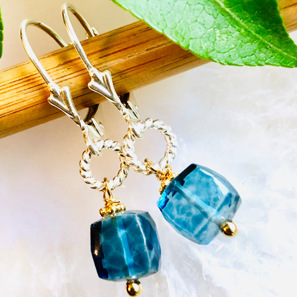 Abigail Gemstone Earrings Denim Quartz