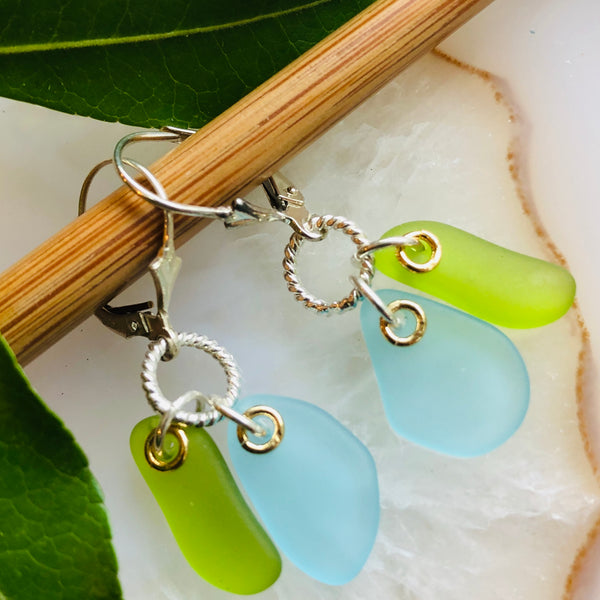 Double Seaglass Earrings