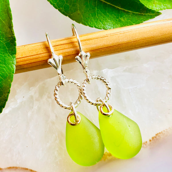 Single Pebble Seaglass Earrings