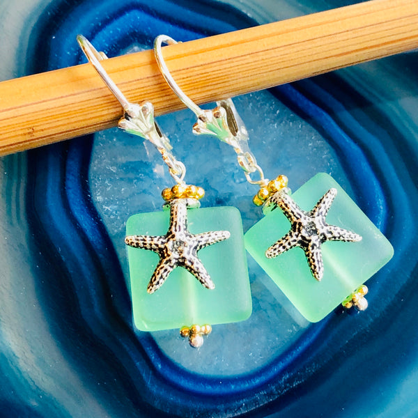 Square Starfish Seaglass Earrings