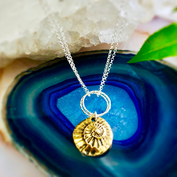 NautilusDouble  Pendant Necklaces Gold or Silver