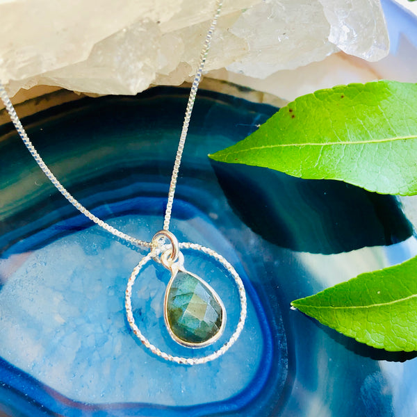 Dewdrop Hoop Pendant Necklace