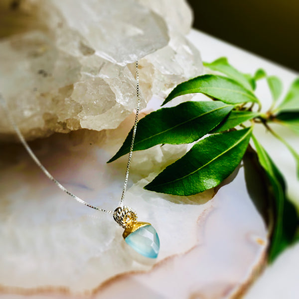 Shield Gemstone Pendant Necklace