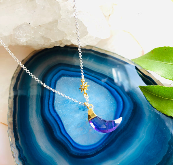 Star Luna Gemstone Pendant Necklace