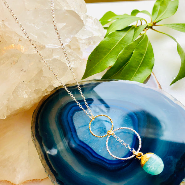 Leah  Double Hoop Pendant Necklace