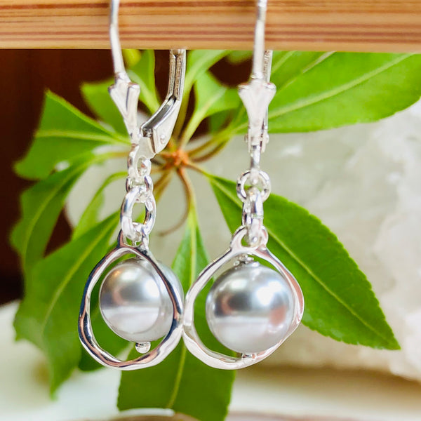 Lydia Earrings - Caged Pearls