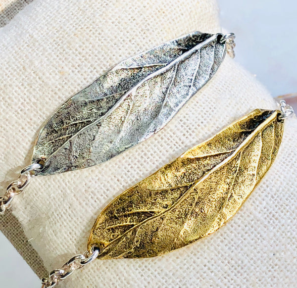 Long Leaf Pewter bracelet