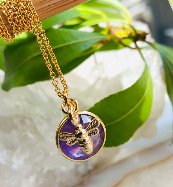 Bee Gemstone Pendant Necklace