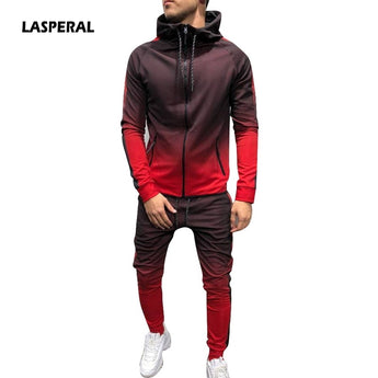 LASPERAL 2 Pieces Zipper Tracksuit Men Set