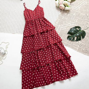 SKOONHEID Women Dot Strap Dress Summer