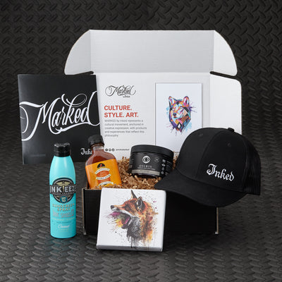 Marked by Inked Wild Heart Edition. Tattoo inspired art and merchandise, tattoo skincare, organic health and wellness, bonus products and more. Featured artist Mikhail Anderson