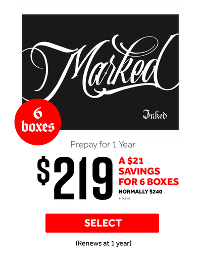 Tattoo subscription box, prepay 6 for $219