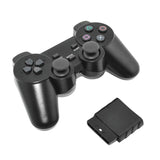 Black Wired Wireless Controller Dual Vibration Gamepad for PS2 PlayStation game