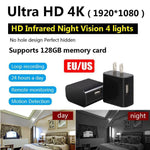 Mini WIFI 4K Hidden Camera Wall Charger Wireless USB Nanny Night Cam GOOD