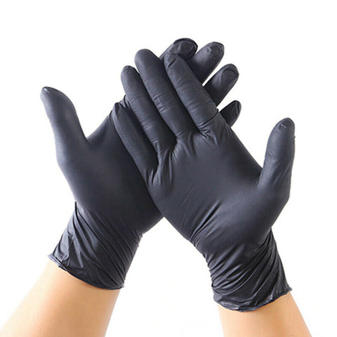 100 X Comfortable Rubber Disposable Mechanic Nitrile Gloves Black Medical