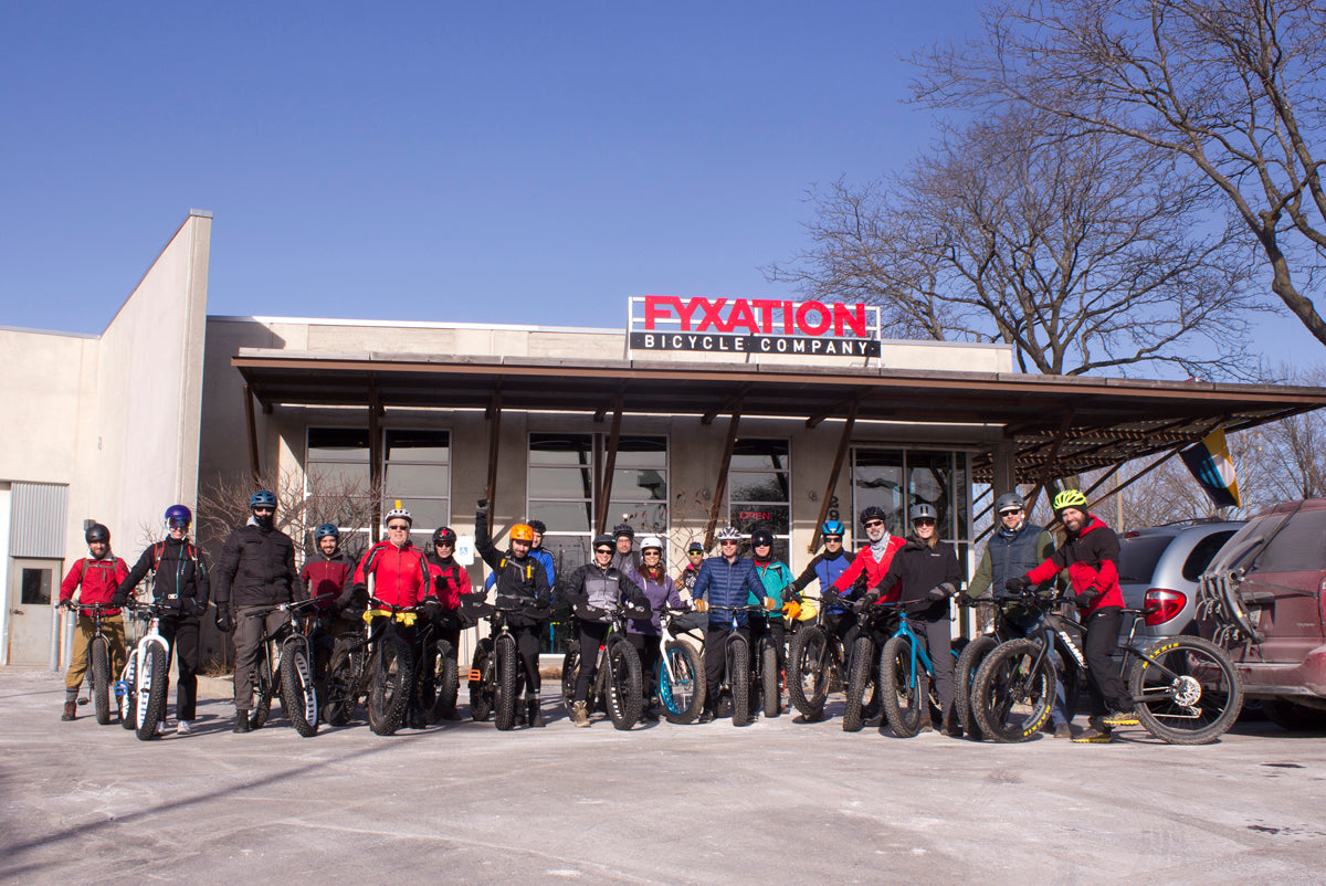 Fat bike riders gather at Fyxation Bicycle Co. for a fat bike group ride