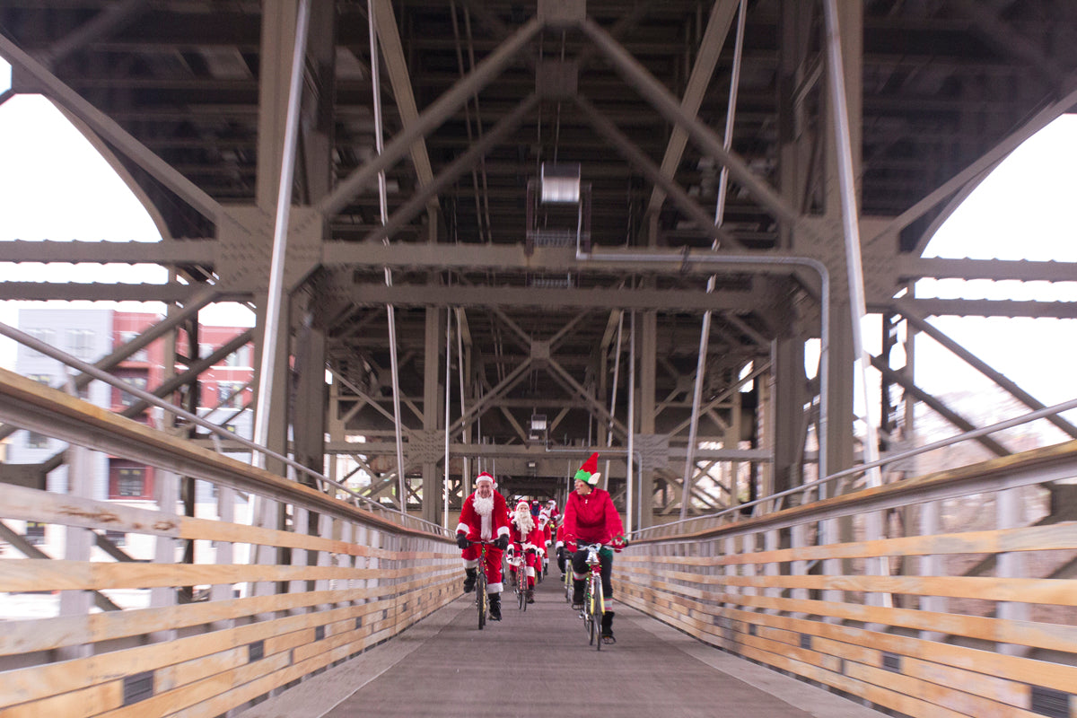 Rolling across the Marsupial bridge on the Santa Rampage