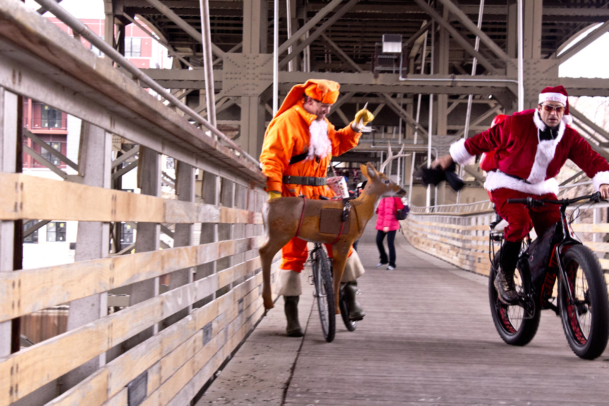 Deer hunting costumes joined Santa suits on the Santa Rampage