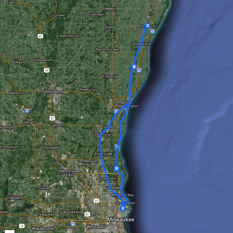 Wisconsin Spring Classic - Fyxation to Belgium Route Map