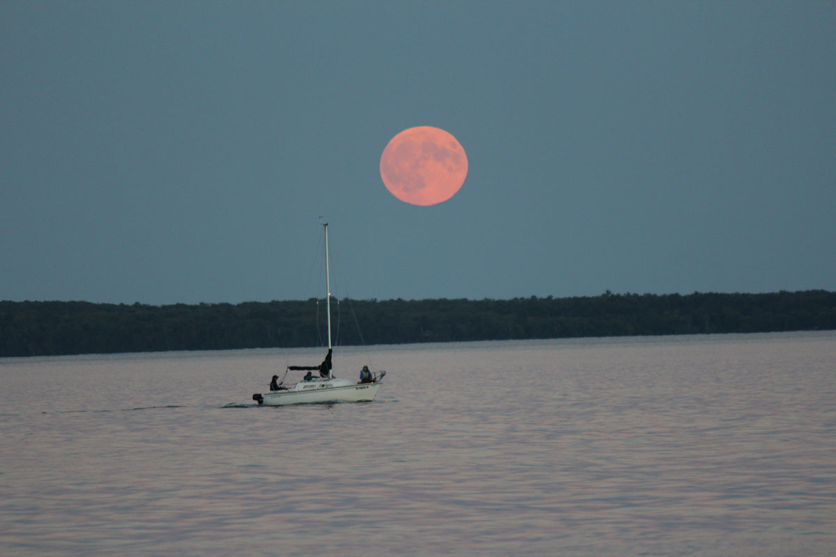 Moon rise over Cequamegon Bay in Bayfield WI