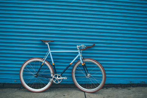 Blue Fixed Gear With Silver Parts