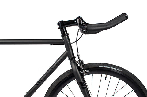 Black Track Bike With Pursuit Bullhorn Bars